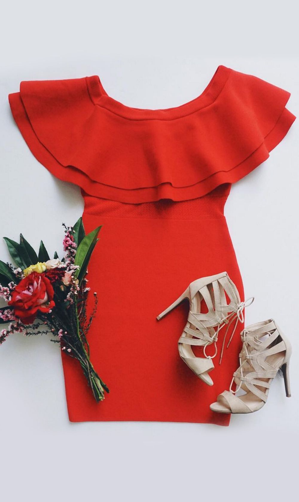 Wait and see red orange offtheshoulder dress beauty pinterest