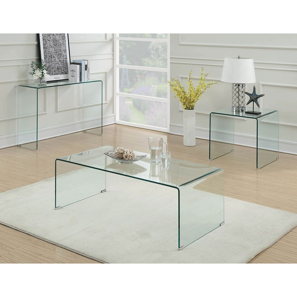Best Waterfall 22 All Glass Coffee Table Modern Sofa Table 640 x 480