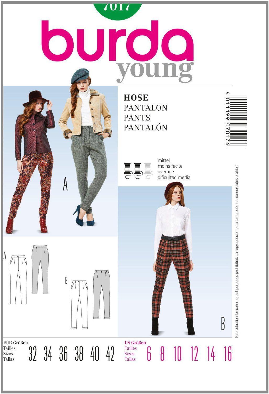 Amazon.com: Burda Sewing pattern 7017 Burda Style Pants young ...