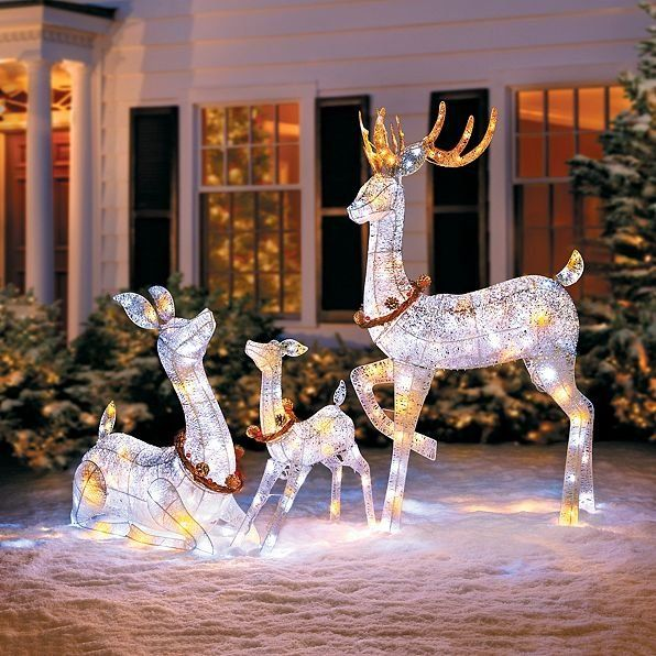 Celebrate The Season With This Twinkling Lighted Reindeer Family Outdoor Yard D Decorating With Christmas Lights Outdoor Christmas Christmas Light Installation