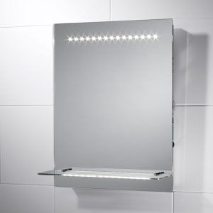 led illuminated bathroom mirror with shelf demister shaver sensor