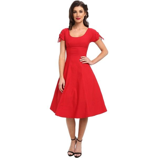 Unique Vintage Stretch Keyhole Sleeved Swing Dress Women's Dress, Red ($60) found on Polyvore featuring dresses, red, vintage red dress, red bow dress, cat dress, red ruched dress and vintage dresses