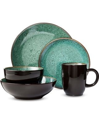 Belmont Stoneware 16pc Dinnerware Set Green - Threshold | Dinnerware ...