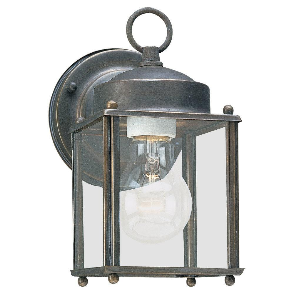 Sea Gull 8592-71 - New Castle One Light Outdoor Wall Lantern in Antique Bronze