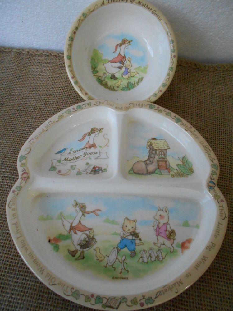 Vintage PECO Plastic Childrens Plate and Bowl Set Mother Goose Nursery Rhyme #Peco & Vintage PECO Plastic Childrens Plate and Bowl Set Mother Goose ...
