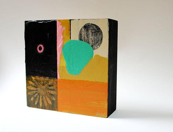 Abstract Oil Painting Wood Art Block Original by JennyGrayArt