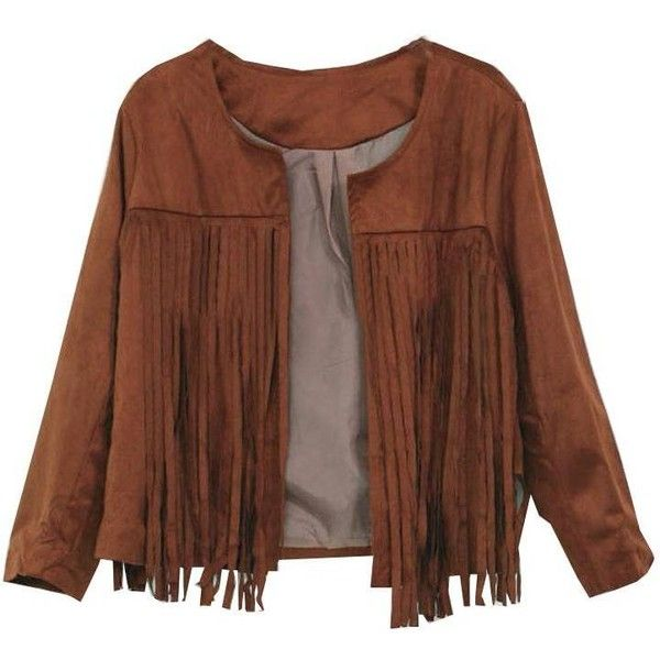 Casual Long Sleeve Tassels Fringed Faux Suede Leather Jacket ($13) ❤ liked on Polyvore featuring outerwear, jackets, brown fringe jacket, fringe jacket, print jacket, long sleeve jacket and faux jacket