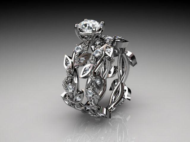 14k white gold diamond leaf and vine wedding ring engagement set adlr59s