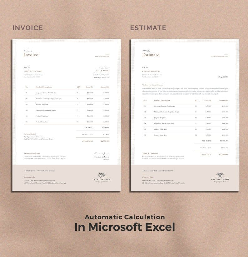 Invoice Template Estimate Quotation Receipt Printable Invoice Word Invoice Stationery Excel Invoice Digital Download Invoice Design Invoice Template Invoice Design Template