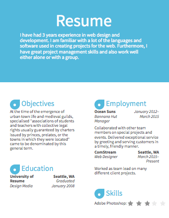 A sample template of a Light Blue resume | Resumes | Pinterest ...
