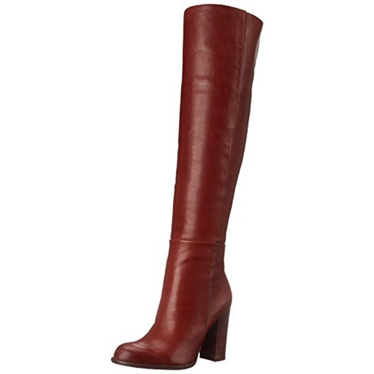 Sam Edelman Womens Rylan Leather Chunky Heel Over-The-Knee Boots