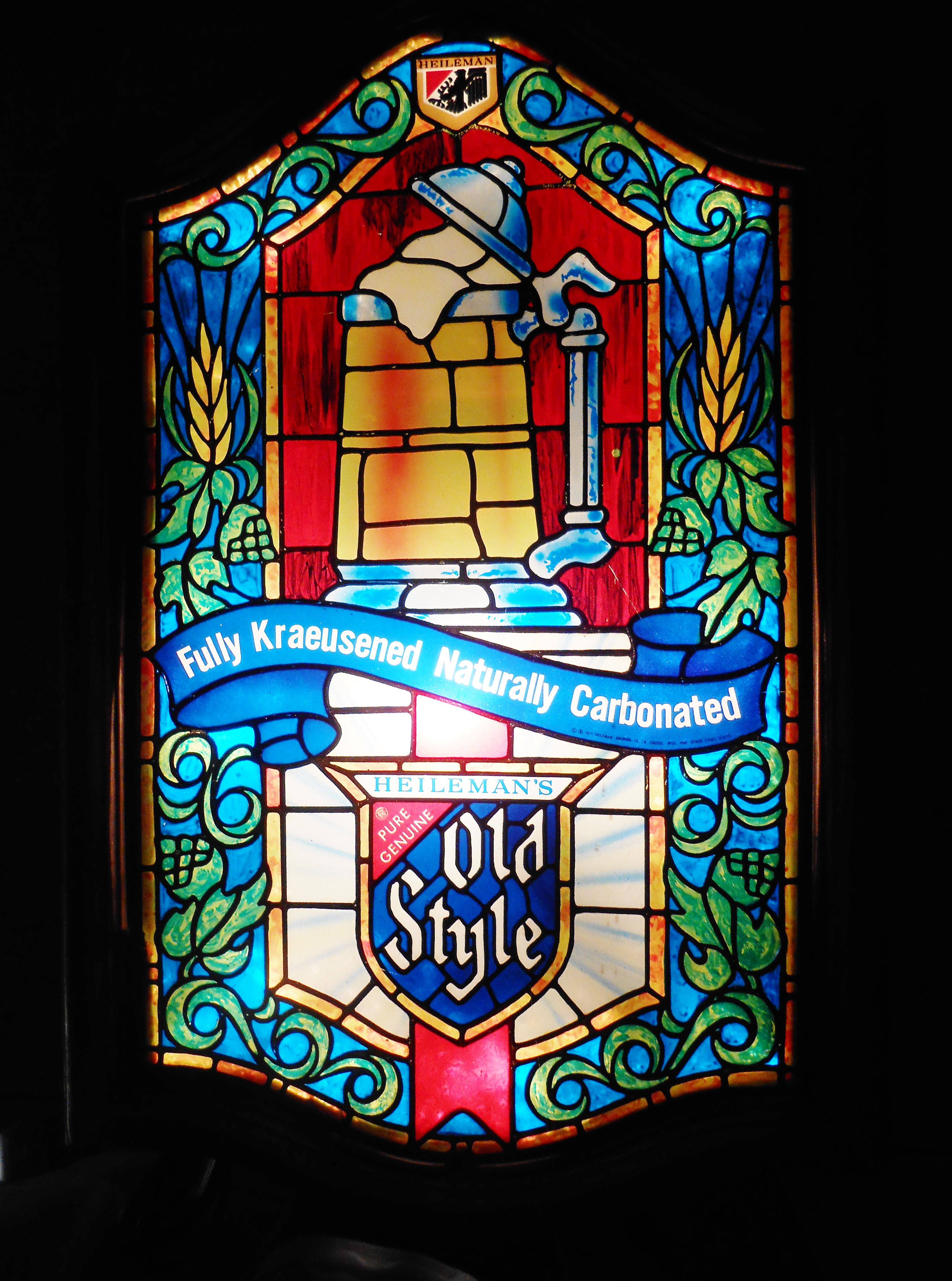 Vintage Faux Stained Gl Old Style Beer Lighted Bar Sign Circa 1985