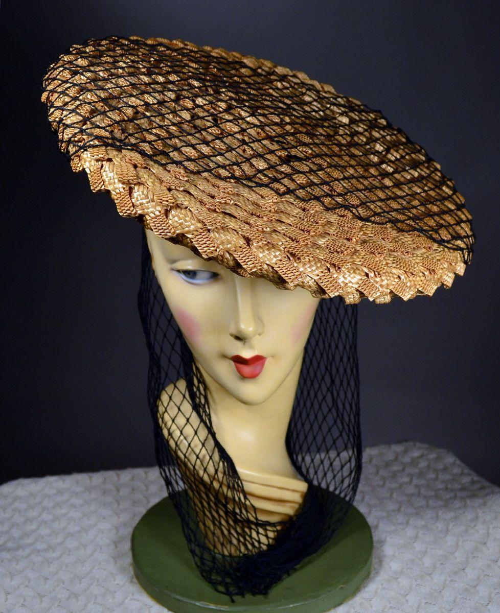 e19ccf60 GEOMETRIC WEAVE STRAW 40's VINTAGE WOMEN's PANCAKE HAT - BLACK FAILLE CAP &  FISHNET SCARF - LESLIE JAMES. SOLD at rpvintage.com.