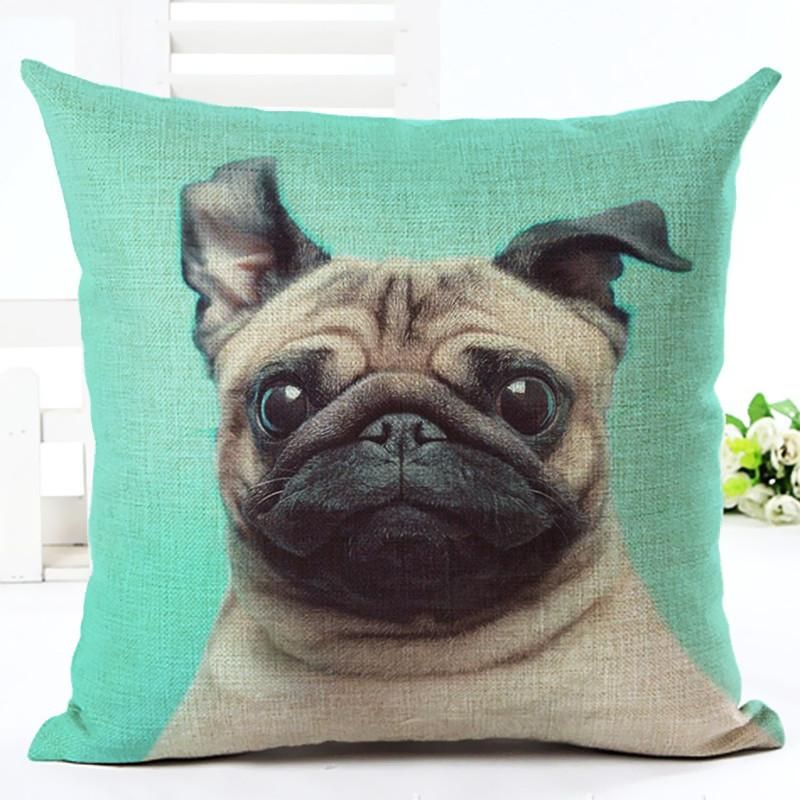 Decorative Pug Pillow Case in 2020 Green pillow cases