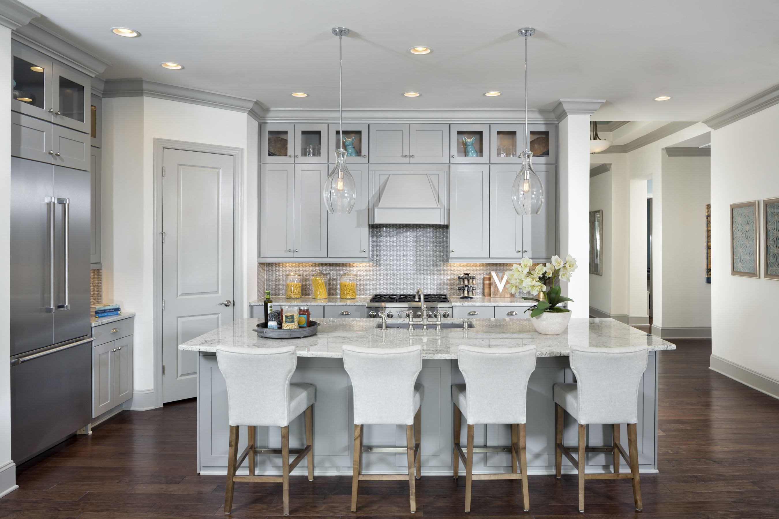 The Harwin Is Located In Chapel Hill Nc Gray Cabinets Give This