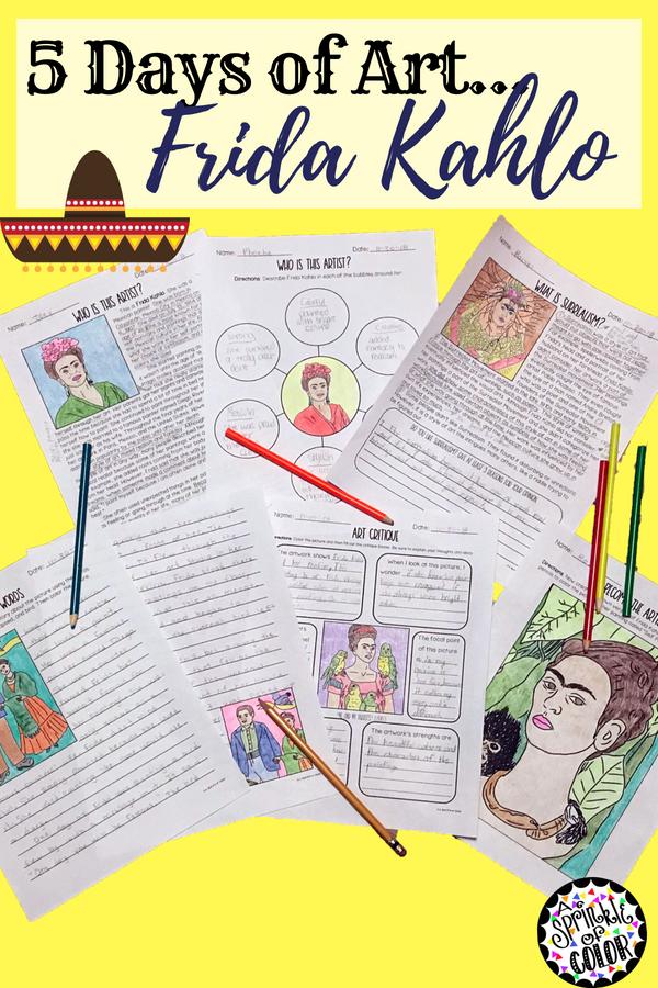 Five Days Of Art Frida Kahlo Elementary Art Pinterest