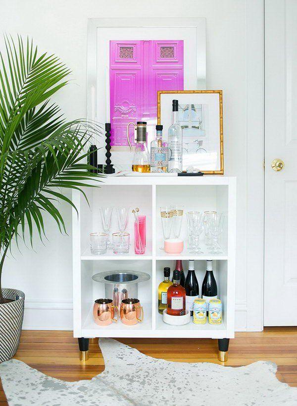Diy ikea 8 living rooms dining rooms pinterest bar for Estanteria kallax ideas