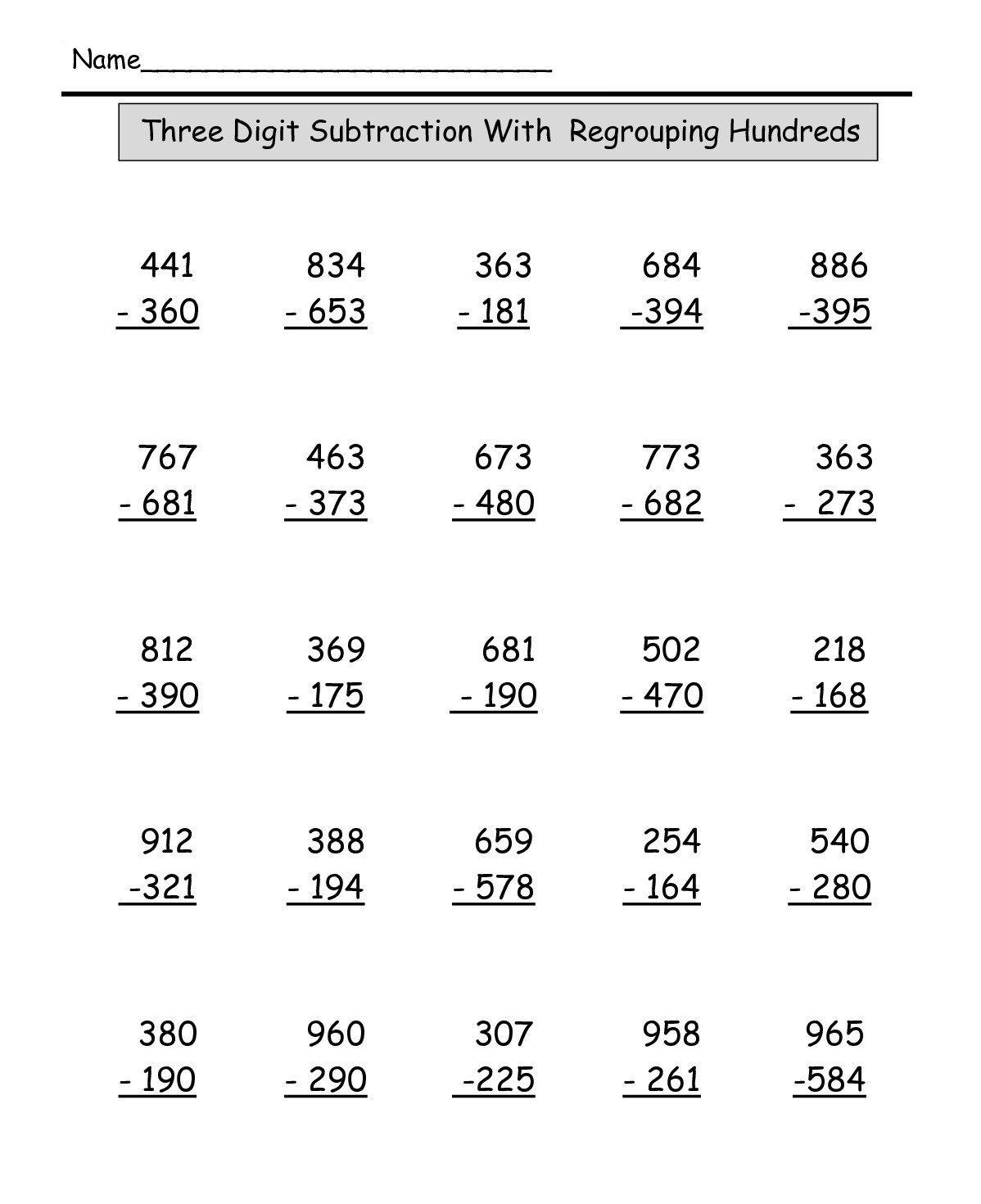Three Digit Subtraction Edit