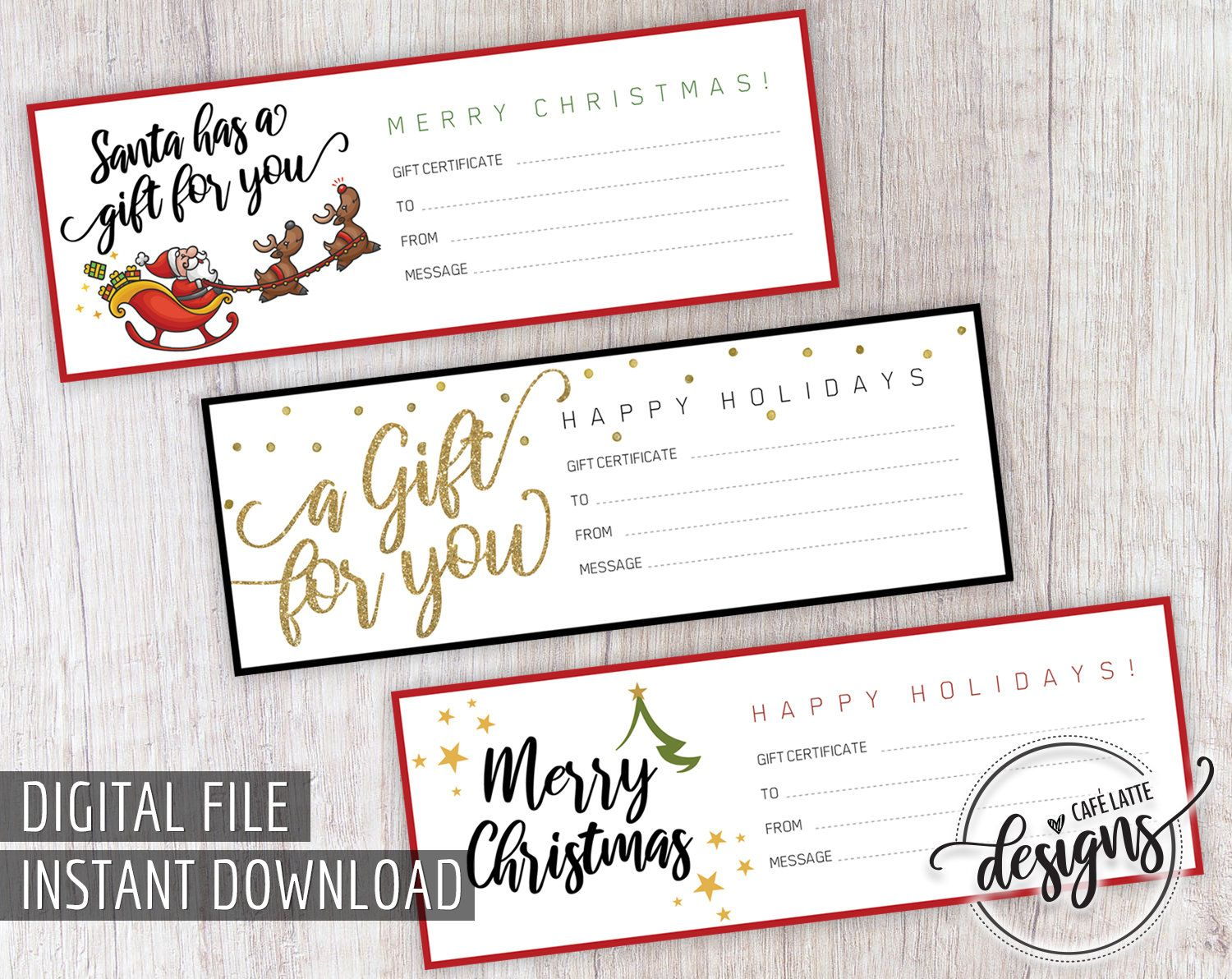 Christmas gift certificate gift certificate printable