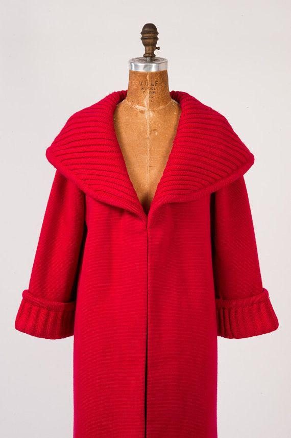 wool knit 60s mod coat