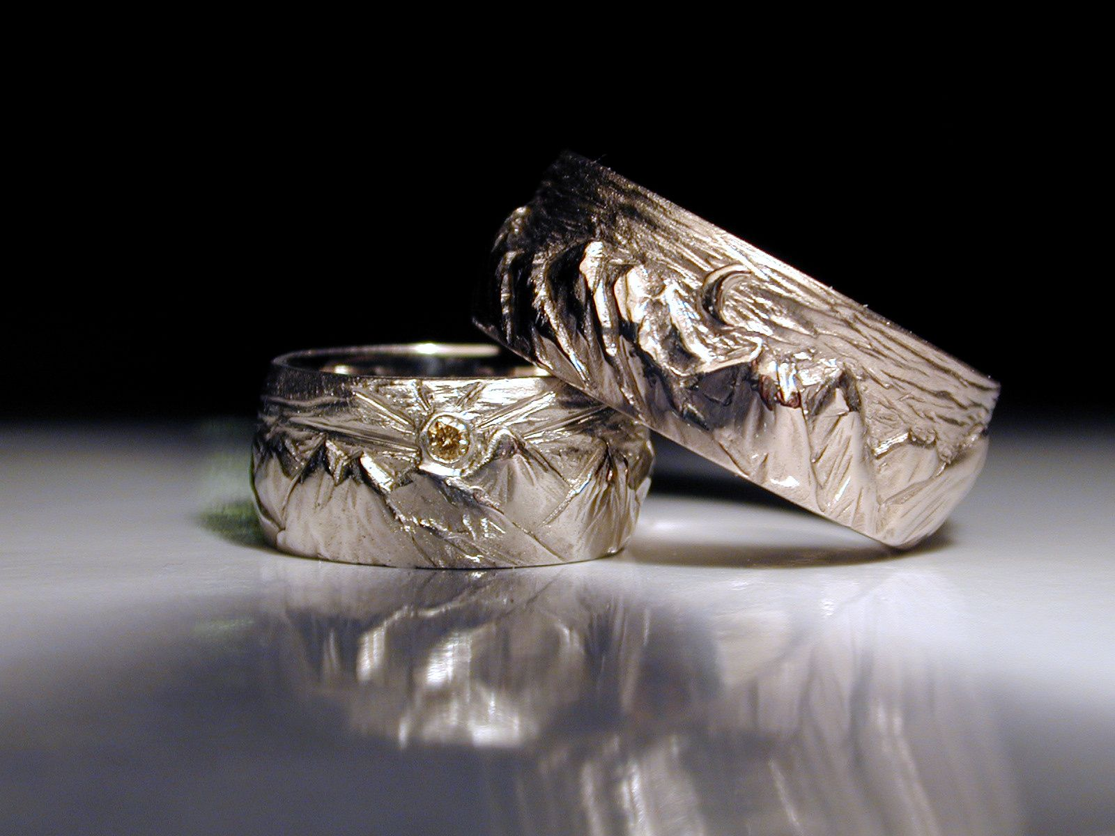 carved mountain wedding rings in white gold. | my custom wedding