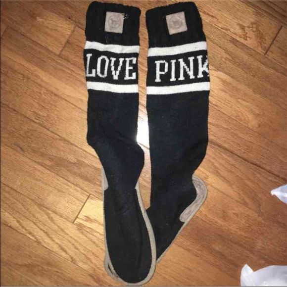 VS pink boots Gently used very comfortable very rare Victoria's Secret Shoes Over the Knee Boots