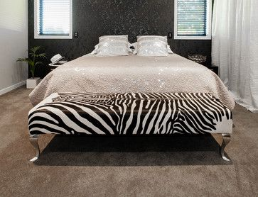 Zebra Print Cowhide Ottoman For End Of Bed Contemporary