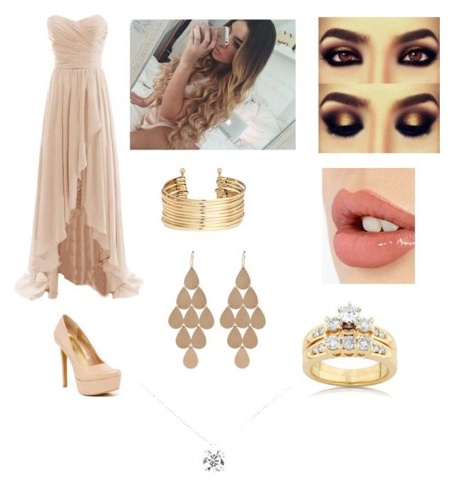 """party outfit"" by darkside1640 ❤ liked on Polyvore featuring Jessica Simpson, H&M, Charlotte Tilbury, Irene Neuwirth, Kobelli, Tiffany & Co., women's clothing, women's fashion, women and female"