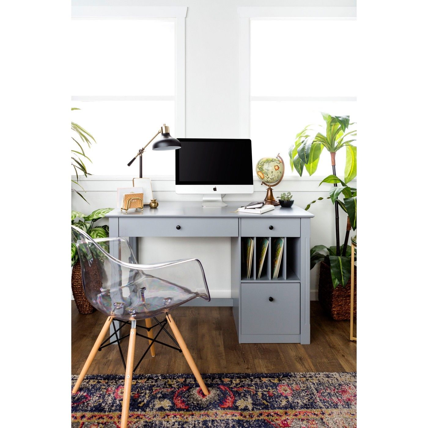 Home Office Deluxe Wood Storage Computer Desk -Saracina