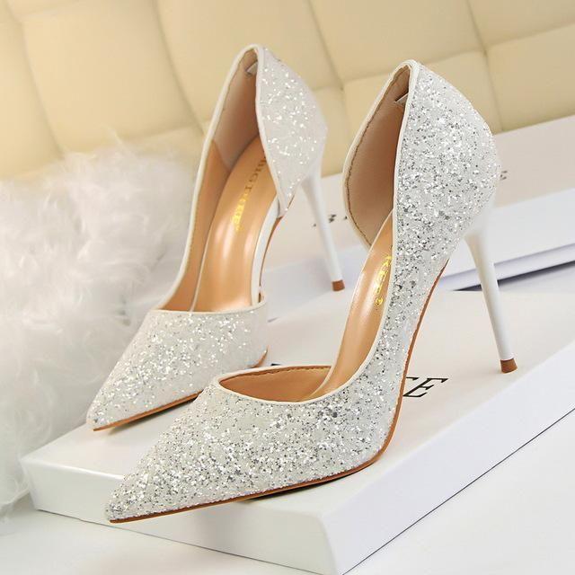 366d8b87953d Women Pumps Bling High Heels Pumps Glitter Shoes Sexy Wedding Party Shoes  Gold Silver - Shoes