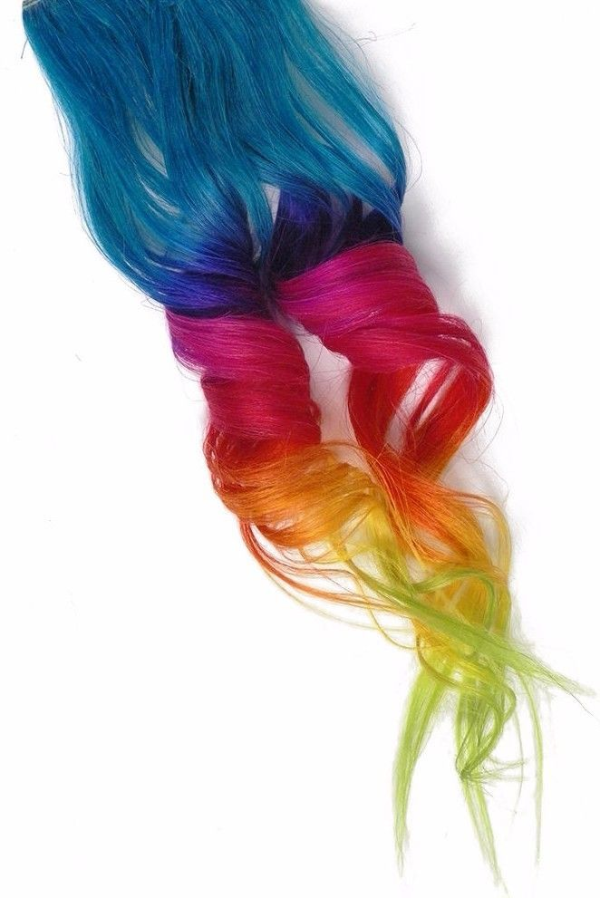 Details About 2x Clip In Human Hair Extensions Rainbow Blue Ombre