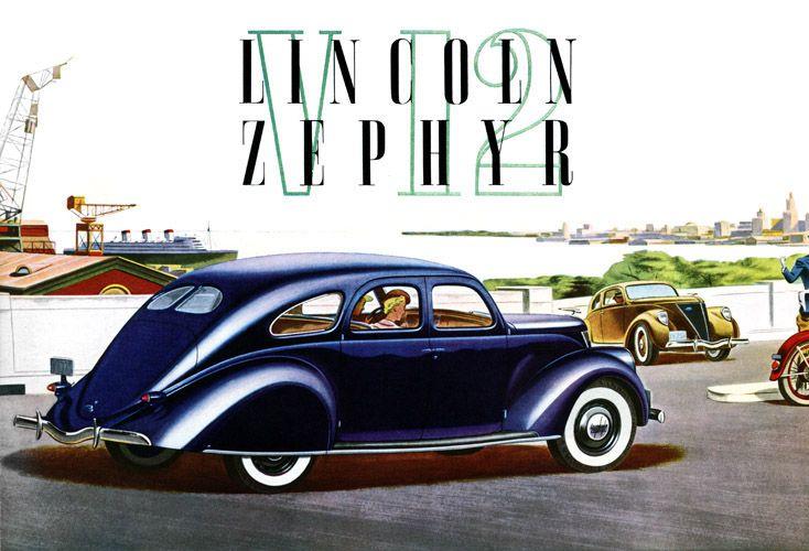 Plan59 Classic Car Art Vintage Ads 1936 Lincoln Zephyr