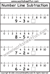 Number Line Subtraction - 8 Worksheets (With images ...