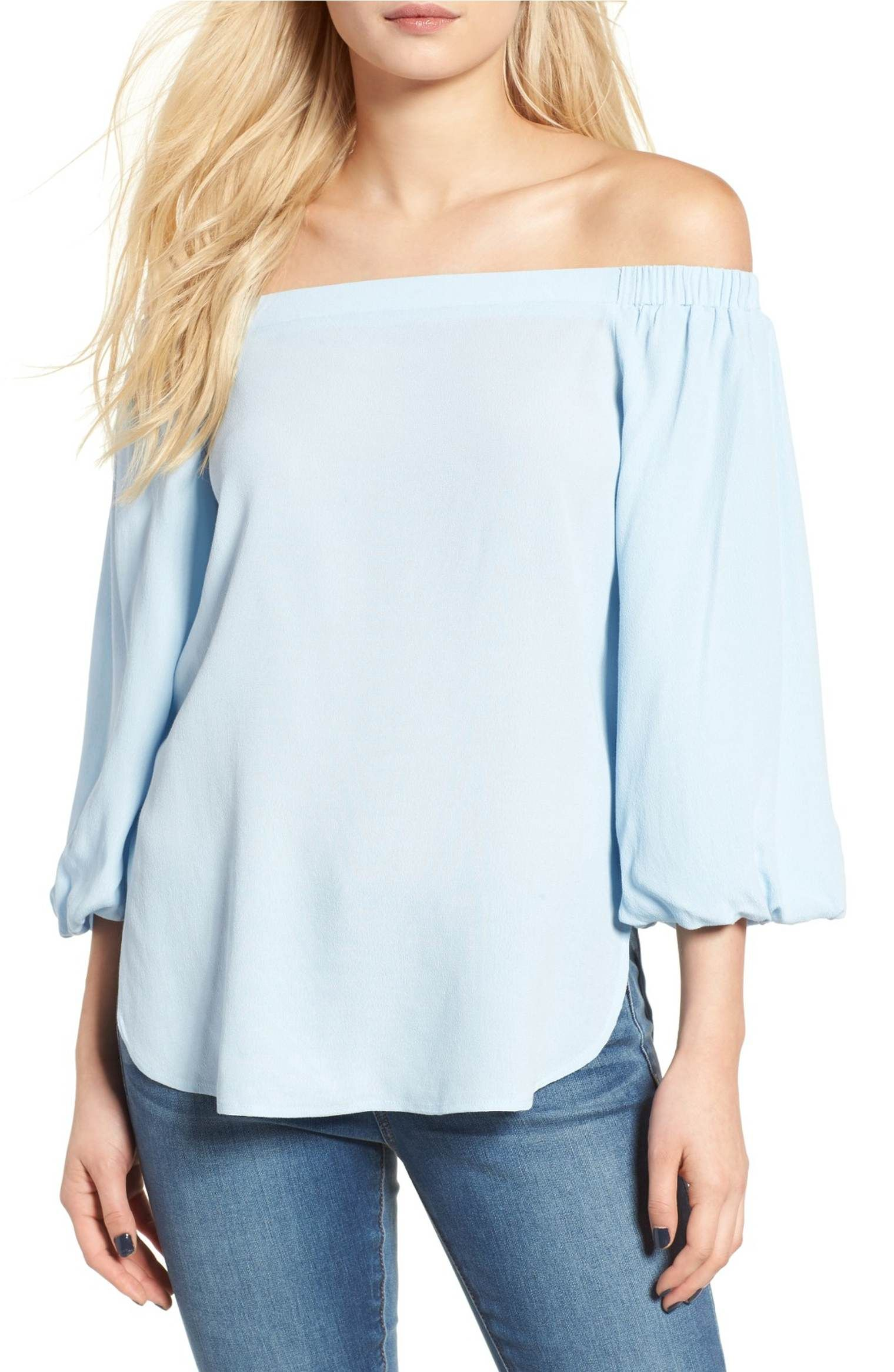 Main Image - Soprano Bubble Sleeve Off the Shoulder Top