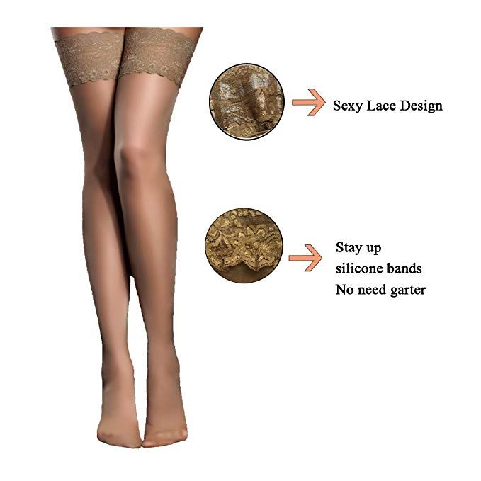 b28a97e7d Women s Thigh High Stockings with Silicone Lace Top Sexy Silk Sheer  Pantyhose 2 Pack (Black Skin) at Amazon Women s Clothing store