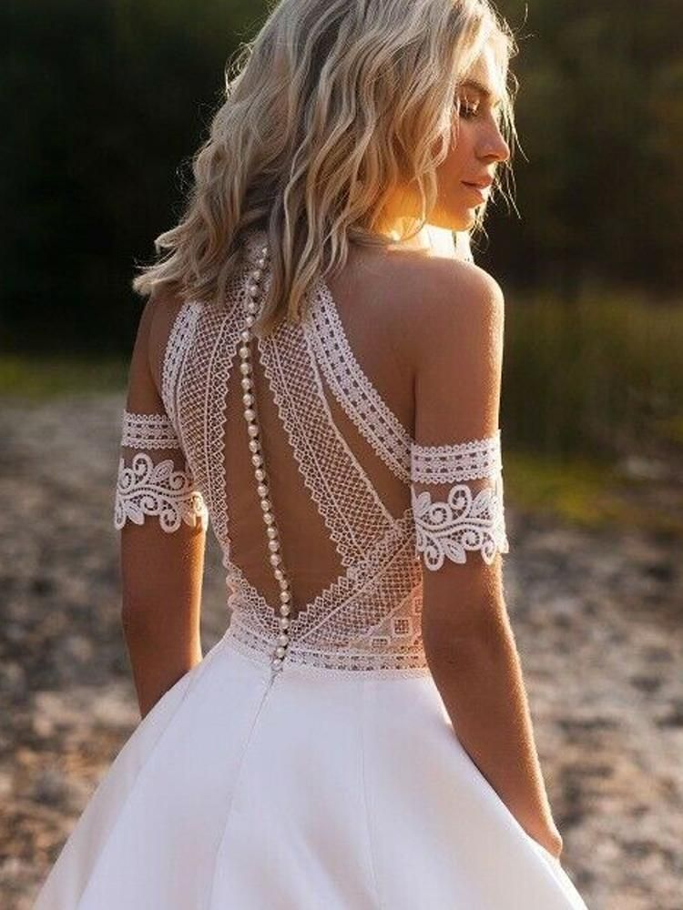 Photo of onlybridals High Neck Wedding Dresses Beach Boho A-Line Bridal Gowns Lace Sleeve…