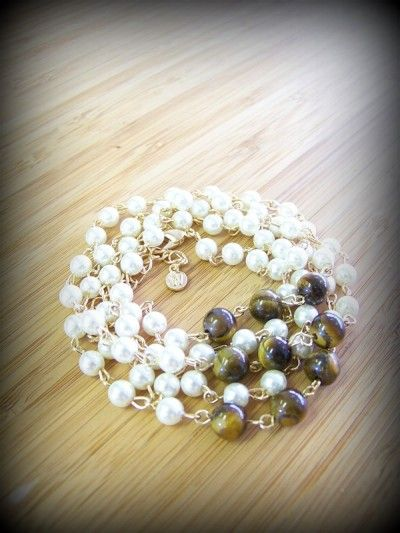 "Pearl and Tiger Eye Bracelet  Approx. 36 + 2""L  Gold Plated  Cream Pearl Beads  Tiger Eye www.jonesburch.com"