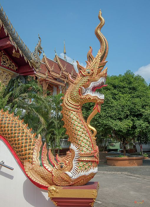 2013 Photograph, Wat Mae San Ban Luk Phra Ubosot Naga emerging from the mouth of a Makara (Sea Dragon), Pa Sak, Mueang Lamphun, Lamphun, Thailand, © 2016. ภาพถ่าย ๒๕๕๖ วัดแม่สารบ้านหลุก พระอุโบสถ นาคโผล่ออกมาจากปากของมกร ป่าสัก เมืองลำพูน ลำพูน ประเทศไทย