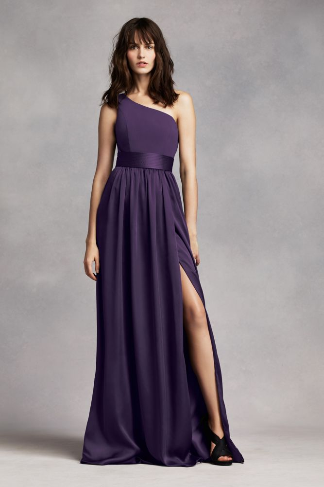 13efb13719e One Shoulder Dress with Satin Sash Style VW360215