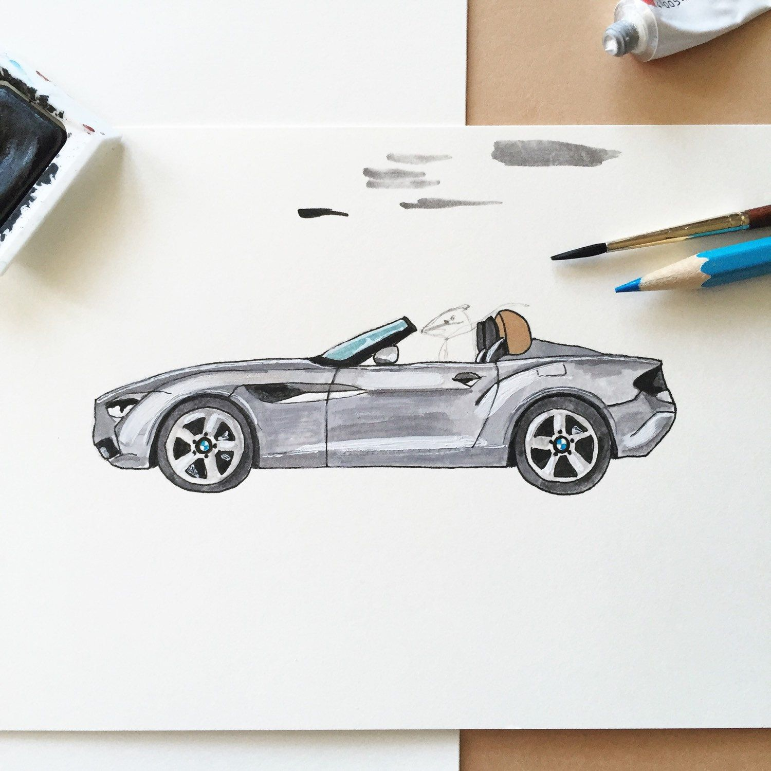 A sketch for a custom order for a birthday card with a badger driving a BMW sports car....