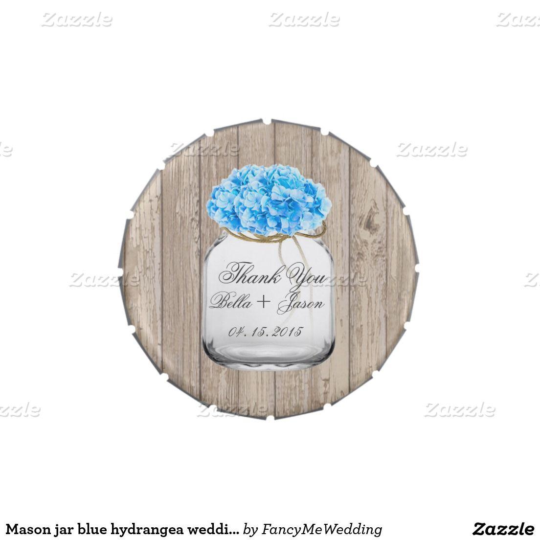 Mason jar blue hydrangea wedding favors hyd2 jelly belly candy tins ...