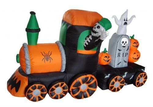7 Foot Long Halloween Inflatable Skeletons on Train Yard Decoration - lowes halloween inflatables