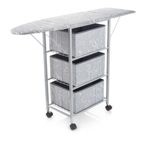 White EasyComforts Metal Frame Laundry Cart With Wheels
