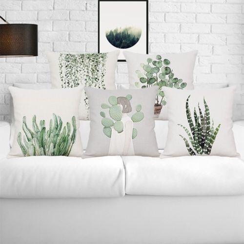 BA_ GRÜN tropische Pflanzen Leinen Kissenbezug Überwurf Wohndeko