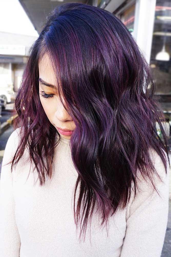 50 Cosmic Dark Purple Hair Hues For The New Image Lovehairstyles Dark Purple Hair Hair Color Plum Dark Purple Hair Color
