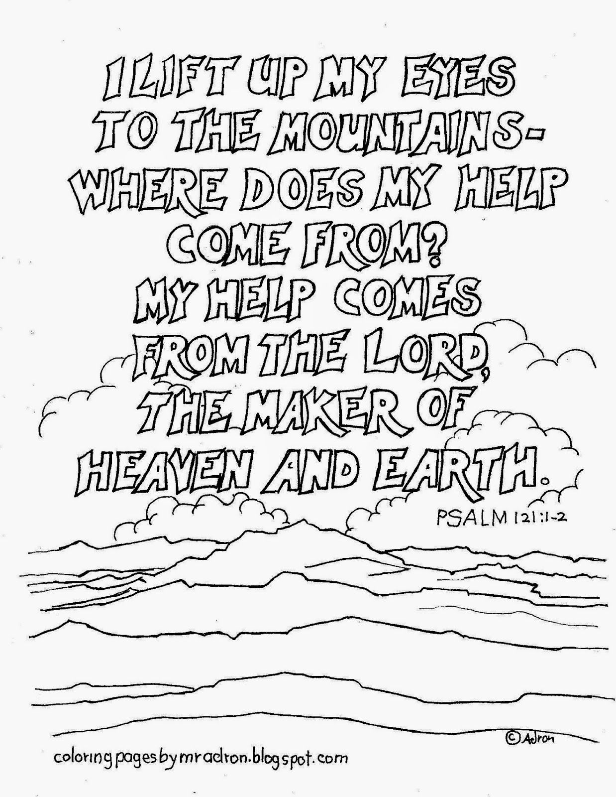 Coloring Pages for Kids by Mr. Adron: Psalm 121:1-2 Printable ...