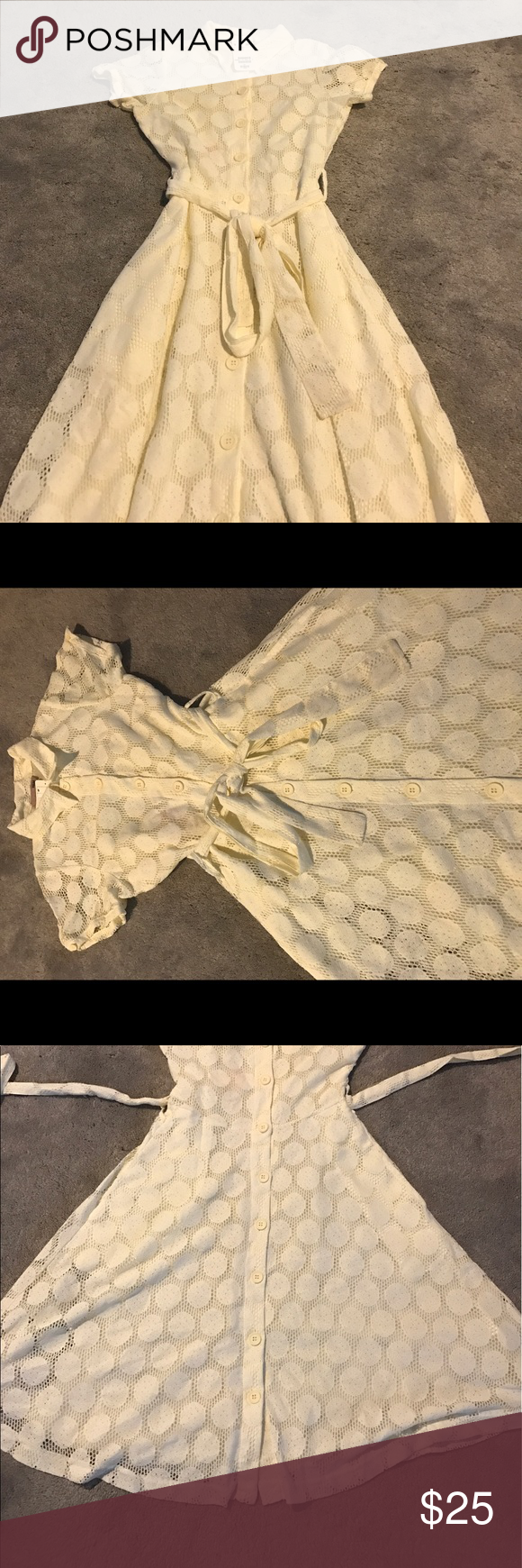 H&m yellow lace dress  HuM White Lace Polka Dot Dress NWT NWT  White lace Swing skirt and