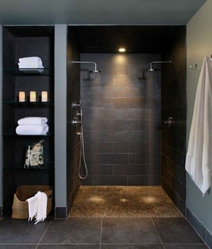 la salle de bain avec douche italienne 53 photos cailloux decoratif luminaire led et gris fonc. Black Bedroom Furniture Sets. Home Design Ideas