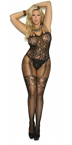 71c4b89eb  plussizelingerie Plus Size Floral Fishnet Lace Body Stocking with Open  Crotch