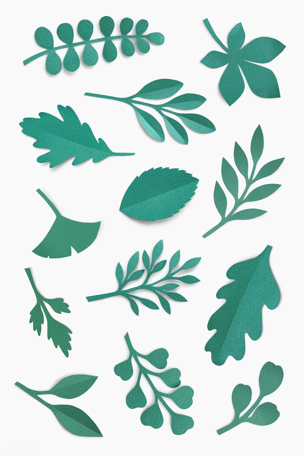 Download premium psd of Green paper craft leaf pattern on white background